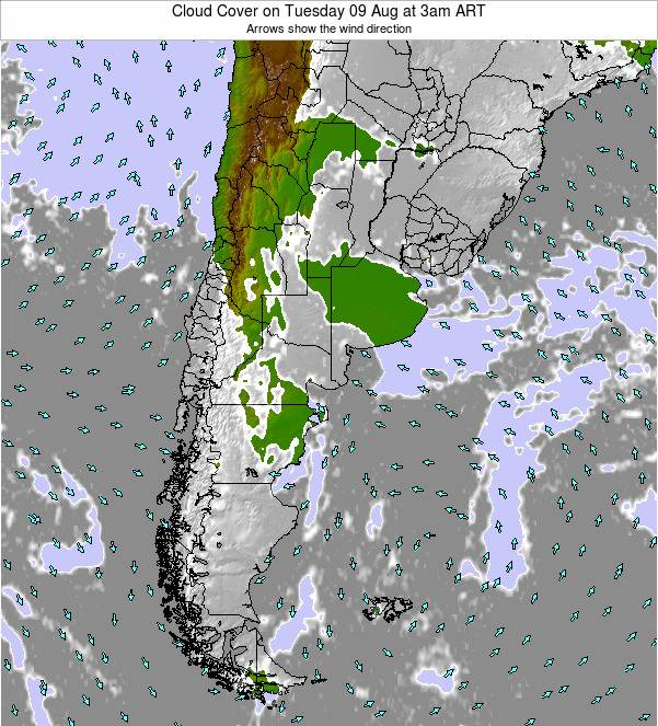 Uruguay Cloud Cover on Tuesday 02 Sep at 9pm ART
