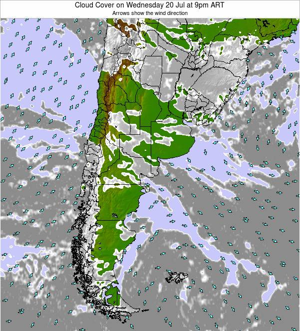 Uruguay Cloud Cover on Saturday 27 May at 3pm ART