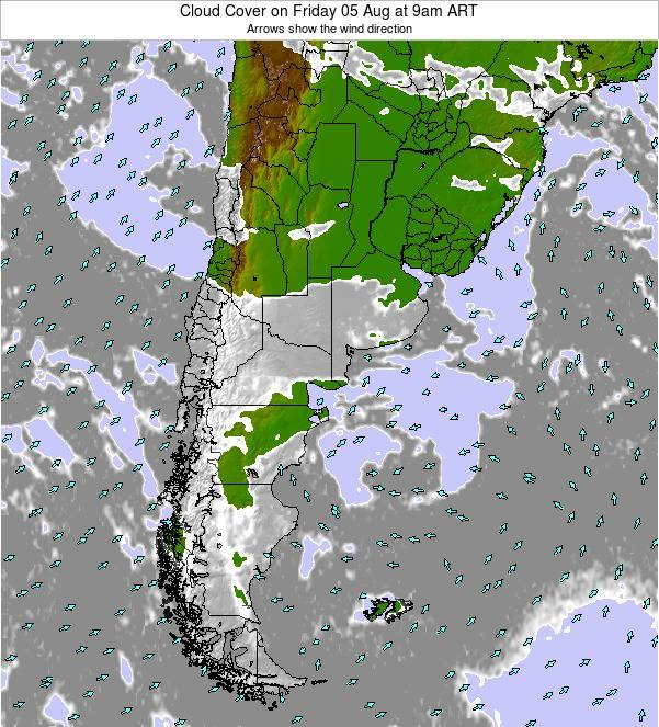 Uruguay Cloud Cover on Monday 04 Aug at 9pm ART