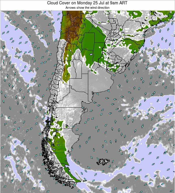 Uruguay Cloud Cover on Thursday 30 Jun at 9pm ART