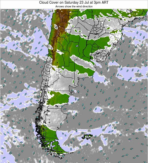 Uruguay Cloud Cover on Wednesday 23 Apr at 3pm ART