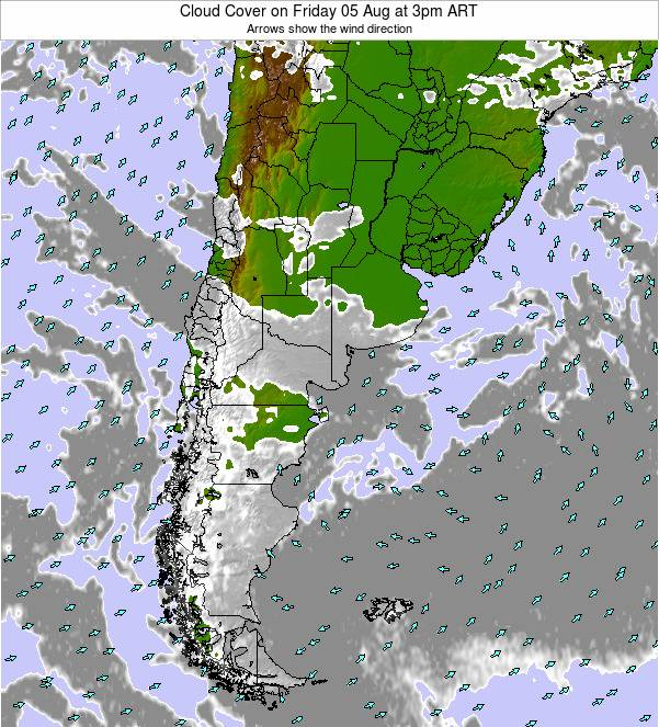 Uruguay Cloud Cover on Monday 26 Feb at 3pm ART map