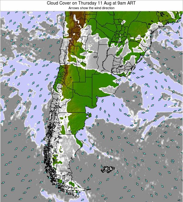 Uruguay Cloud Cover on Wednesday 29 Oct at 3pm ART