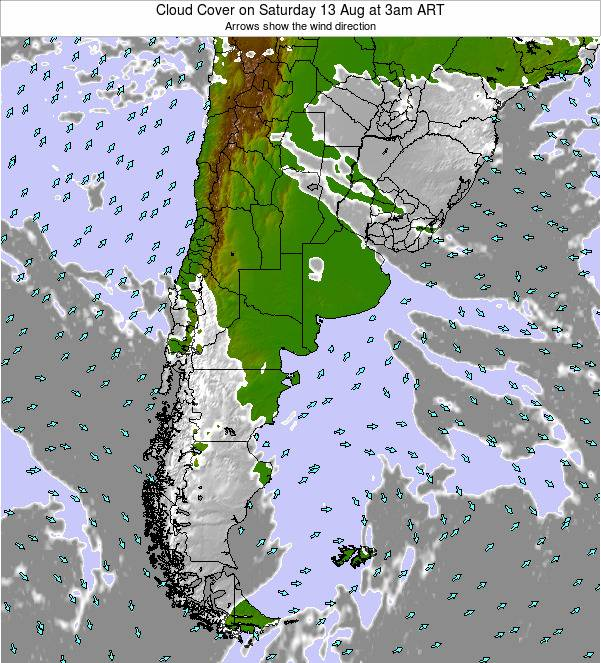 Uruguay Cloud Cover on Thursday 25 Dec at 9pm ART