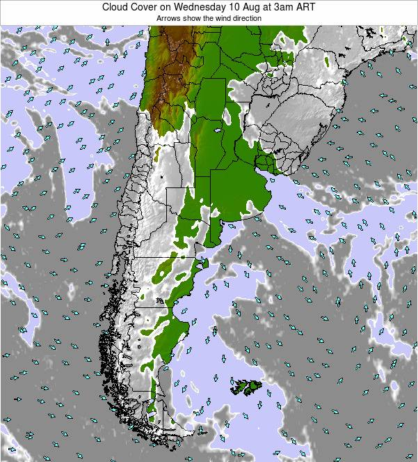 Uruguay Cloud Cover on Saturday 25 Oct at 9pm ART