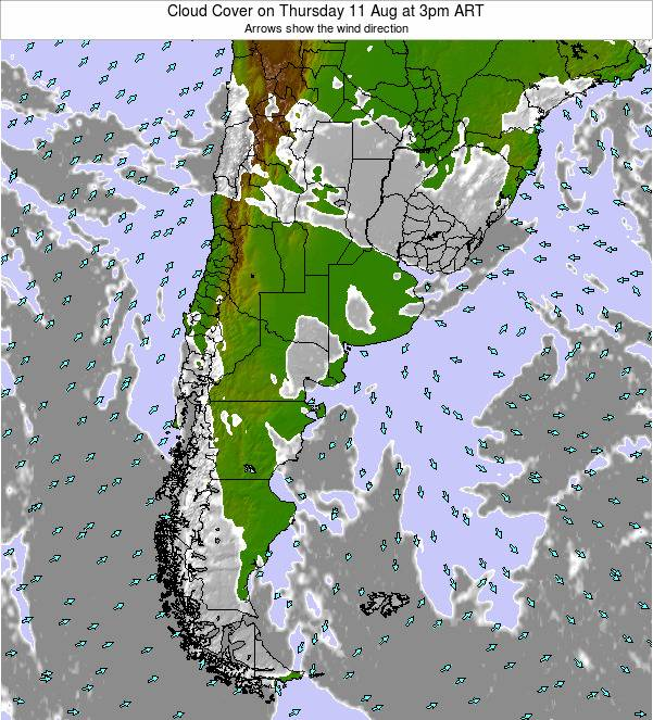 Uruguay Cloud Cover on Monday 09 Dec at 9pm ART