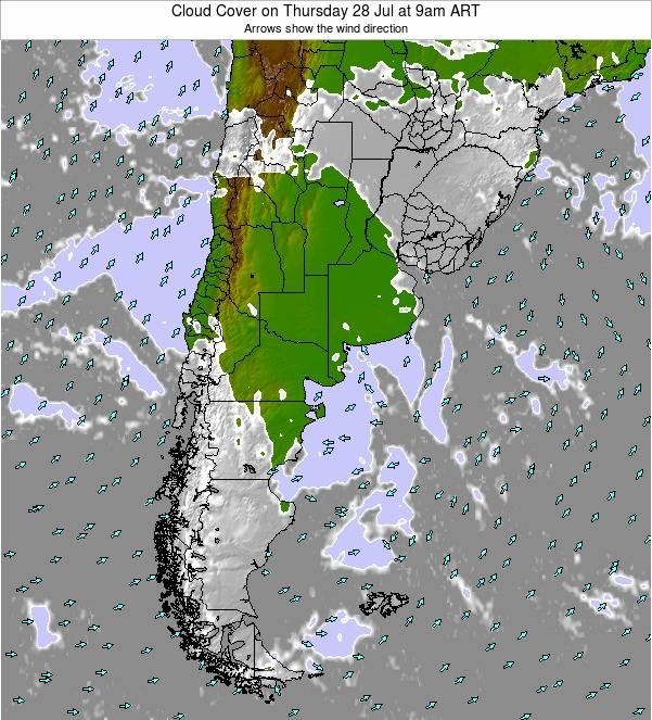 Uruguay Cloud Cover on Monday 28 Apr at 3am ART
