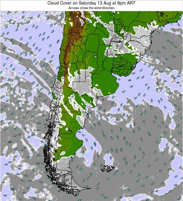 Uruguay Cloud Cover on Wednesday 06 Aug at 3am ART