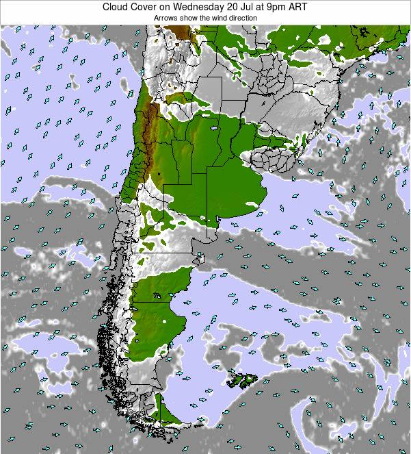 Uruguay Cloud Cover on Monday 27 May at 9pm ART