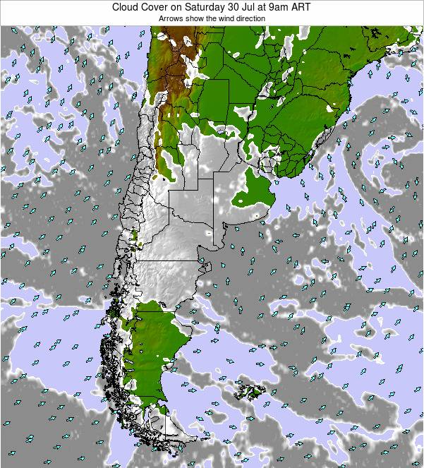 Uruguay Cloud Cover on Tuesday 01 Nov at 3pm ART