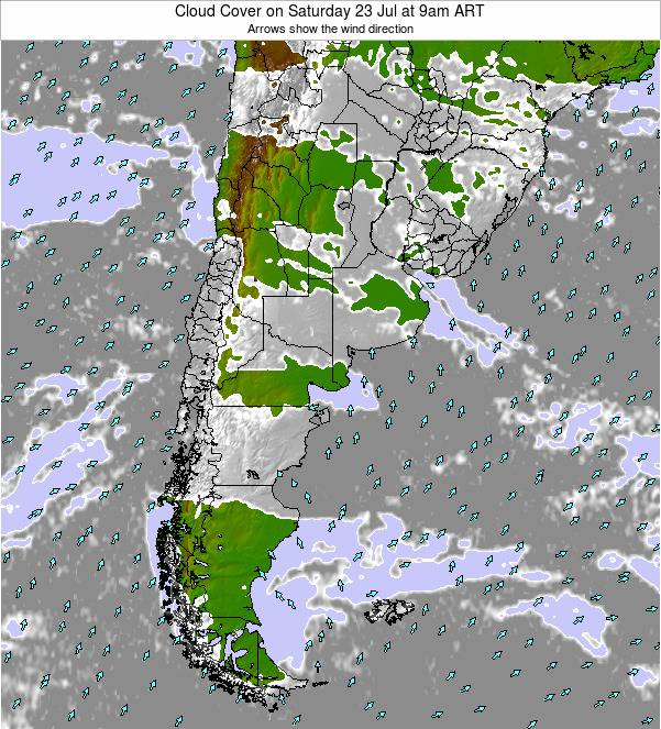Uruguay Cloud Cover on Saturday 31 Jan at 3am ART