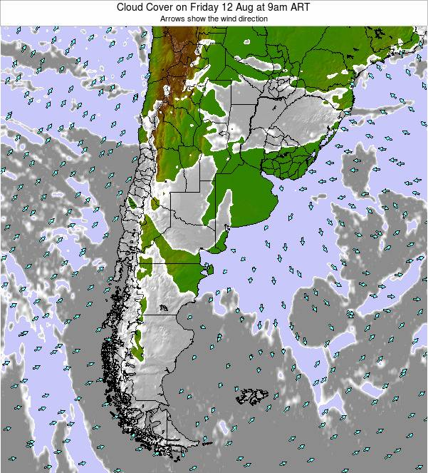 Uruguay Cloud Cover on Sunday 03 Aug at 3am ART