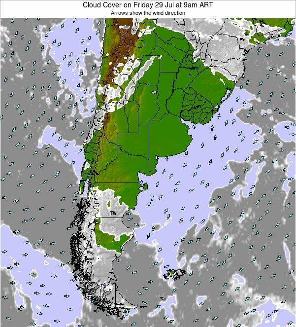 Argentina Cloud Cover on Sunday 26 May at 9pm ART