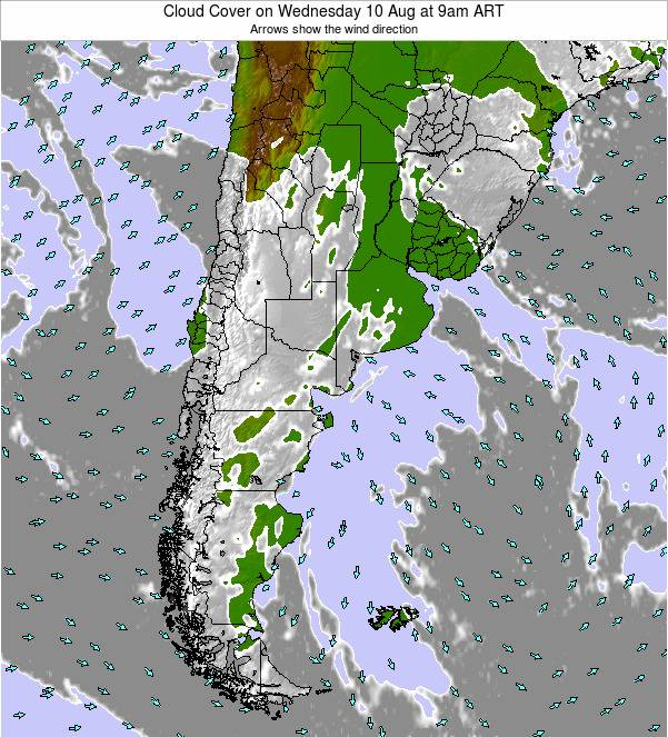 Uruguay Cloud Cover on Saturday 14 Dec at 3am ART