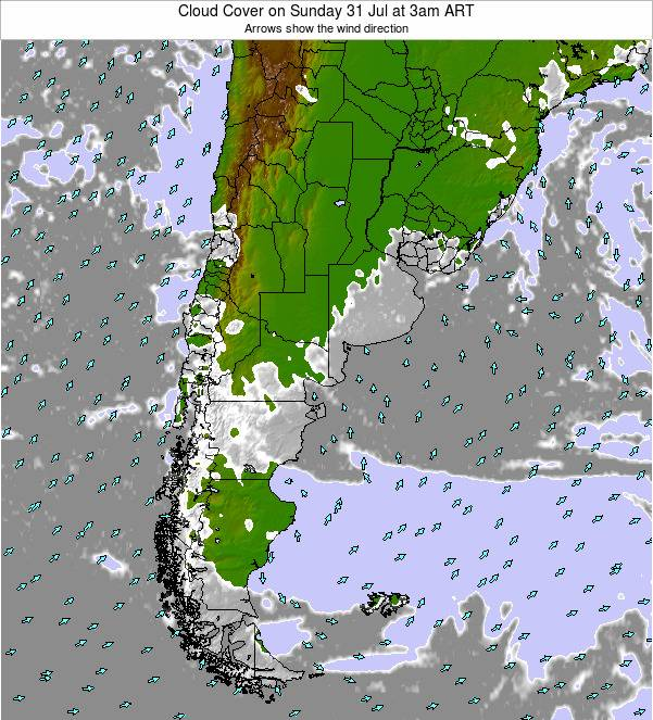 Uruguay Cloud Cover on Wednesday 27 Aug at 9pm ART