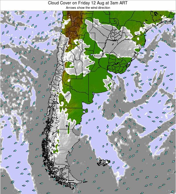 Uruguay Cloud Cover on Saturday 15 Mar at 9pm ART
