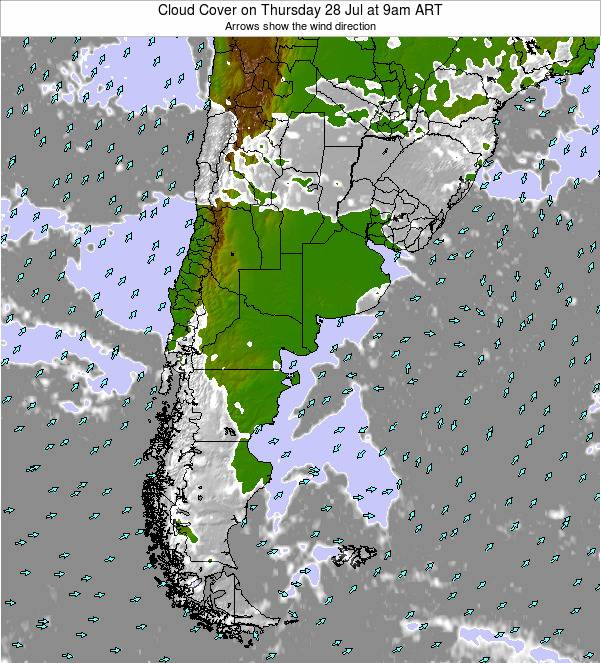 Uruguay Cloud Cover on Wednesday 30 Apr at 9am ART