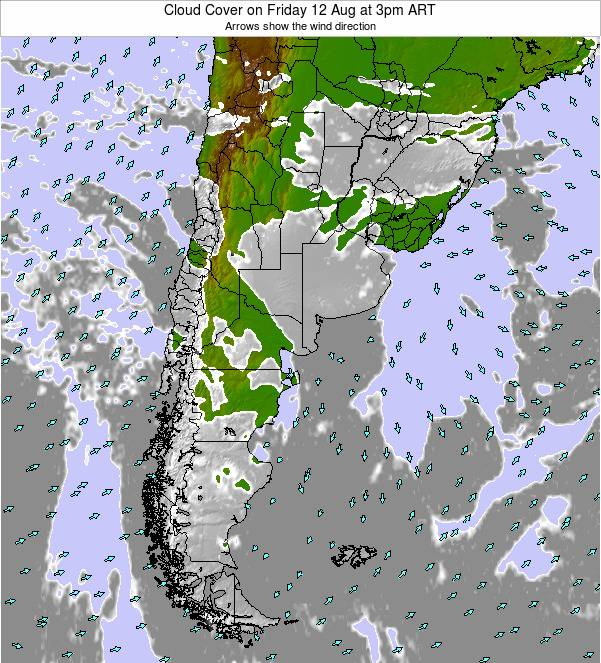 Argentina Cloud Cover on Wednesday 25 Jan at 9am ART