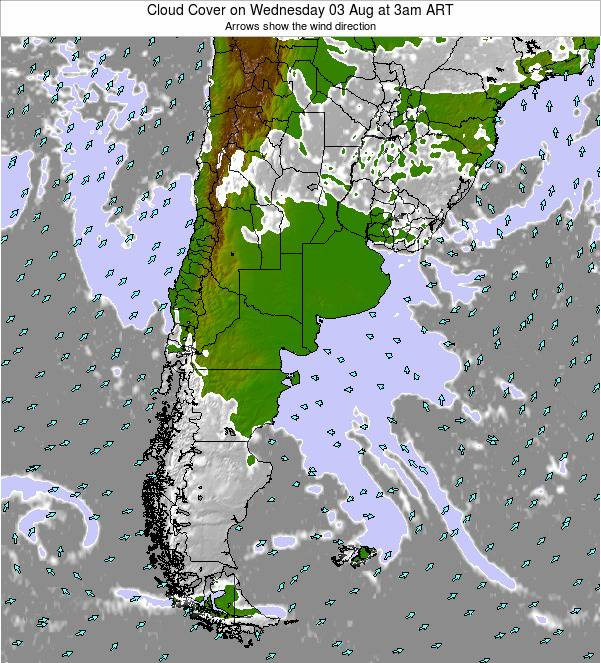 Uruguay Cloud Cover on Monday 28 Apr at 9pm ART