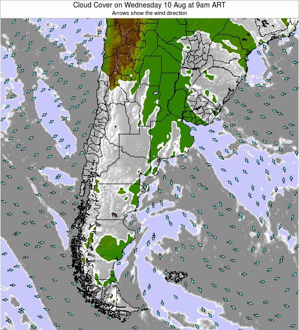 Argentina Cloud Cover on Monday 28 Jul at 9am ART