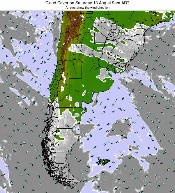 Uruguay Cloud Cover on Wednesday 18 Dec at 9pm ART