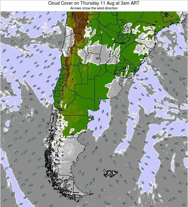 Argentina Cloud Cover on Friday 05 Aug at 3pm ART