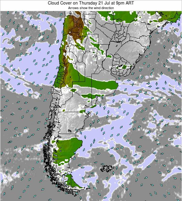 Argentina Cloud Cover on Monday 17 Mar at 9pm ART