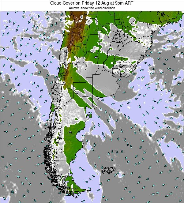 Uruguay Cloud Cover on Monday 09 Mar at 3am ART
