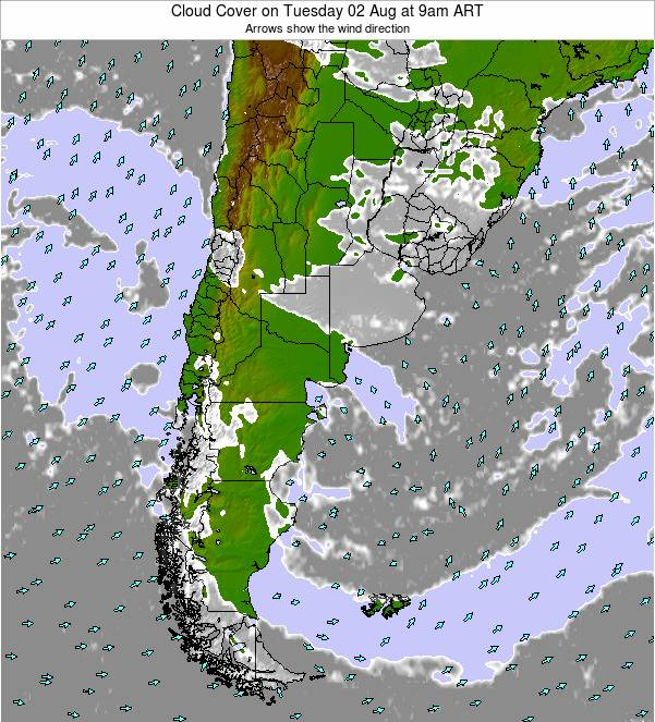 Uruguay Cloud Cover on Thursday 30 May at 3pm ART
