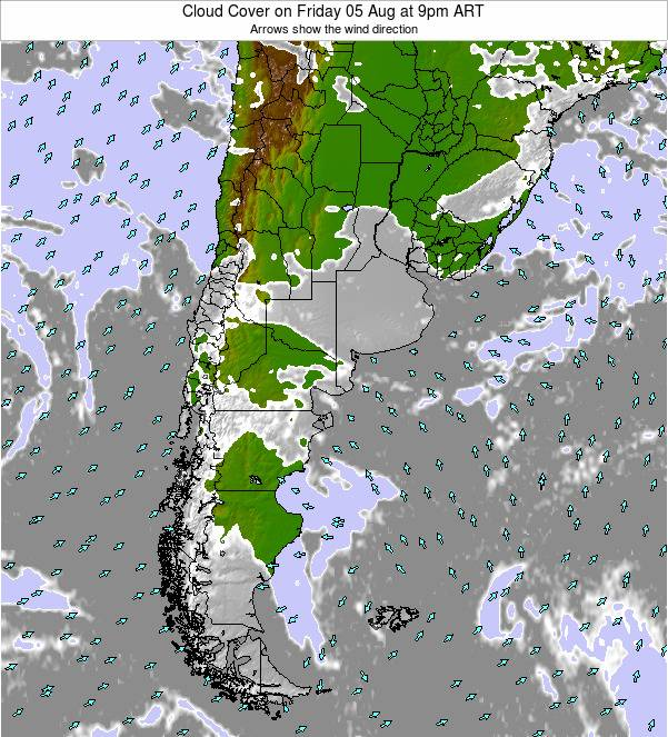 Uruguay Cloud Cover on Sunday 03 Aug at 3pm ART