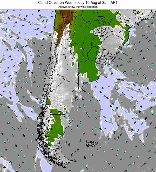 Uruguay Cloud Cover on Monday 24 Jun at 3pm ART