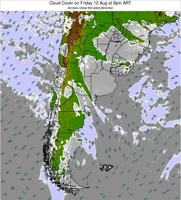 Argentina Cloud Cover on Thursday 06 Nov at 3pm ART