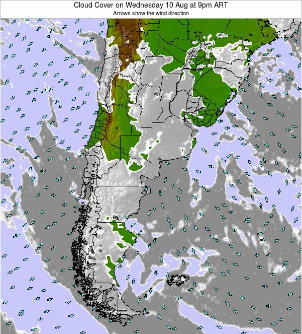 Argentina Cloud Cover on Thursday 03 Nov at 9pm ART