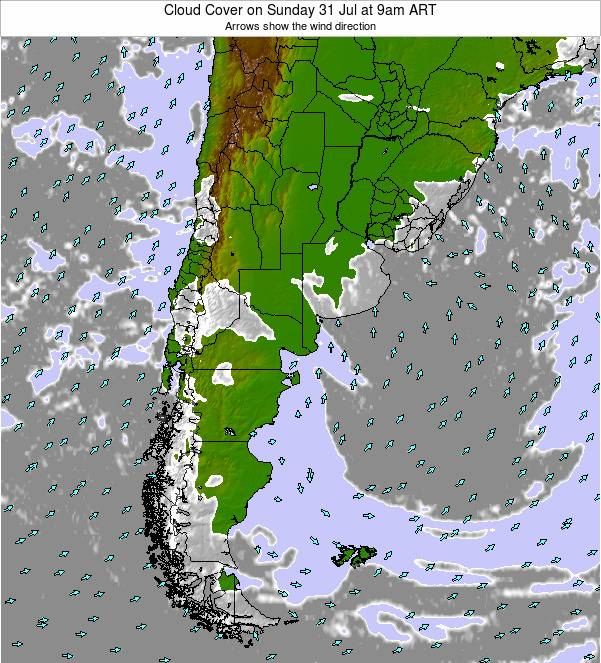Argentina Cloud Cover on Wednesday 23 Apr at 3am ART