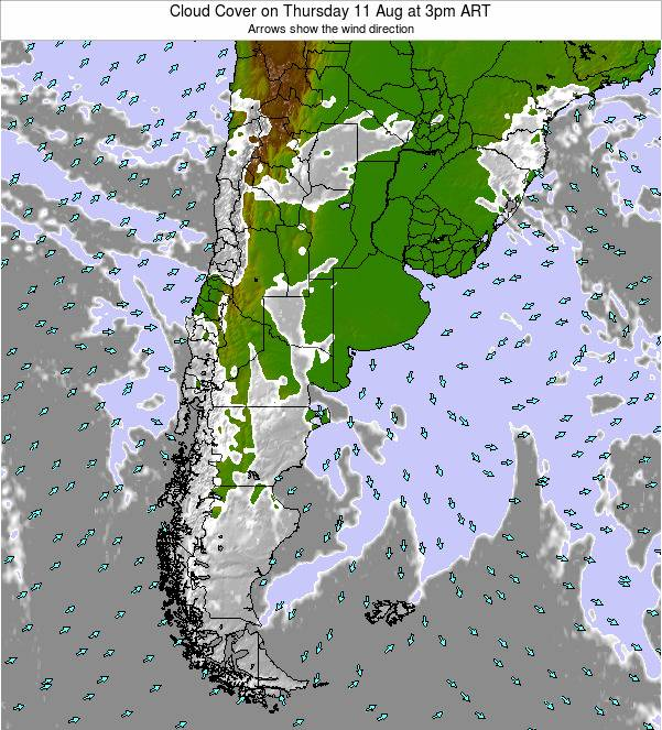Argentina Cloud Cover on Sunday 09 Aug at 9pm ART