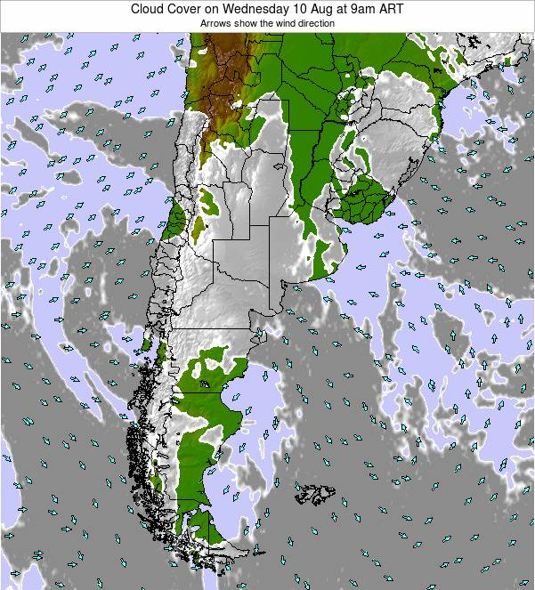 Argentina Cloud Cover on Wednesday 05 Apr at 9am ART