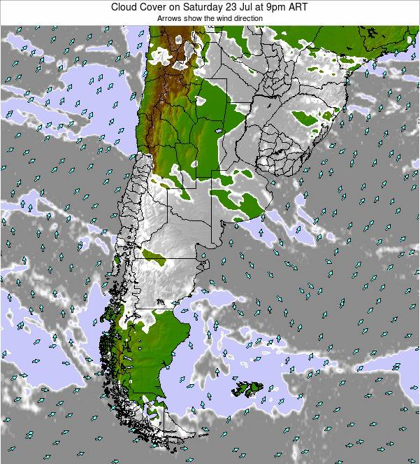 Uruguay Cloud Cover on Thursday 31 Jul at 3am ART