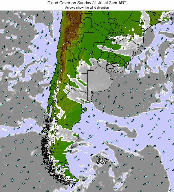 Uruguay Cloud Cover on Wednesday 03 Dec at 9pm ART