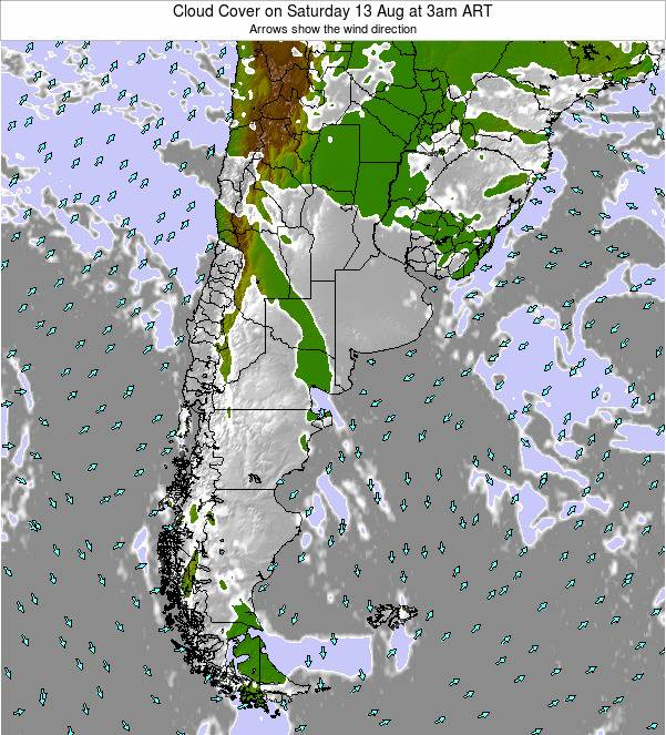 Uruguay Cloud Cover on Sunday 29 Jan at 3am ART