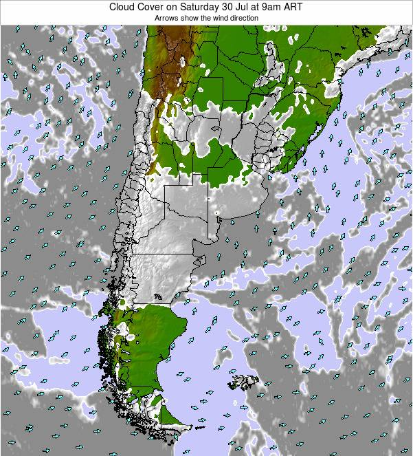 Uruguay Cloud Cover on Saturday 26 Apr at 3am ART