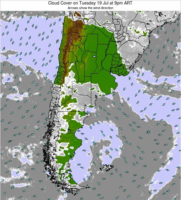 Uruguay Cloud Cover on Wednesday 25 Dec at 9am ART