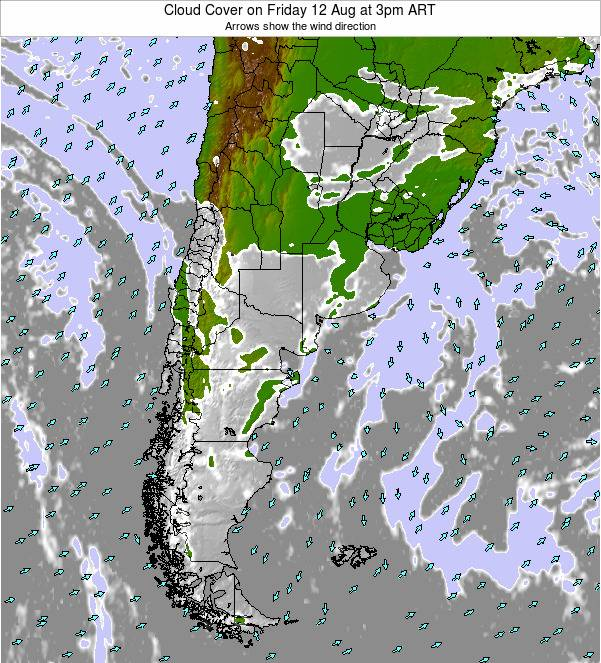 Uruguay Cloud Cover on Tuesday 05 Aug at 9am ART