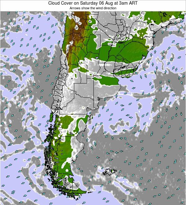 Uruguay Cloud Cover on Wednesday 12 Mar at 9pm ART