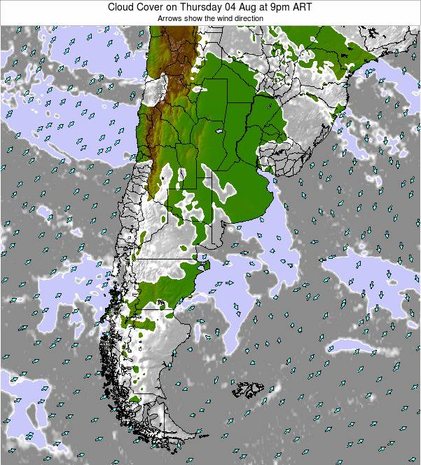 Uruguay Cloud Cover on Saturday 25 May at 3pm ART