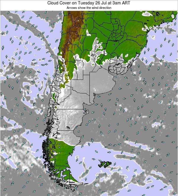 Uruguay Cloud Cover on Sunday 26 Oct at 3pm ART
