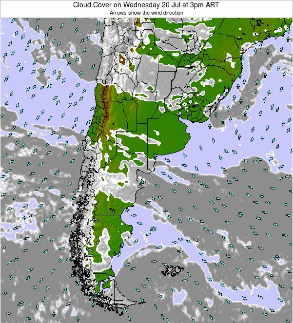 Uruguay Cloud Cover on Tuesday 22 Apr at 9am ART