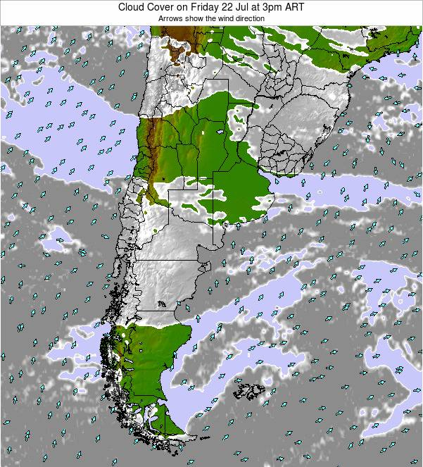 Uruguay Cloud Cover on Wednesday 30 Jul at 3am ART