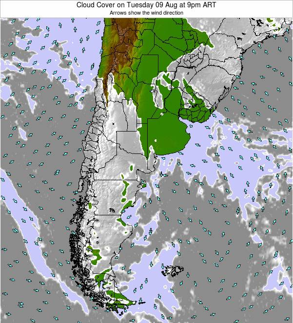 Uruguay Cloud Cover on Wednesday 22 Apr at 9pm ART