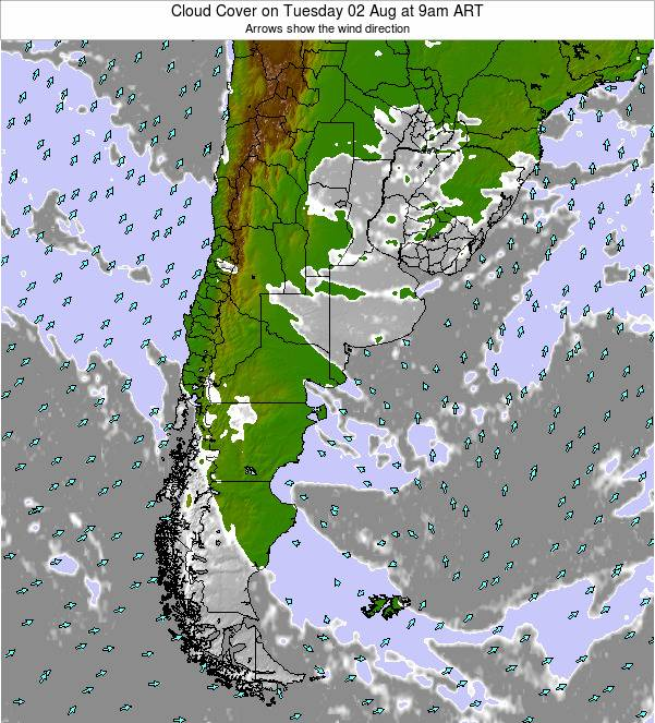 Uruguay Cloud Cover on Friday 24 May at 3pm ART