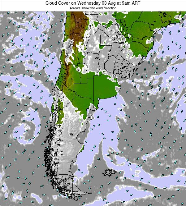 Uruguay Cloud Cover on Friday 25 Apr at 3pm ART